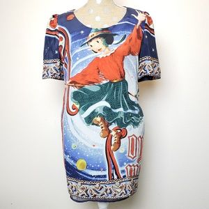 Moschino Jeans Witch Broom Cat Universe Silk Dress